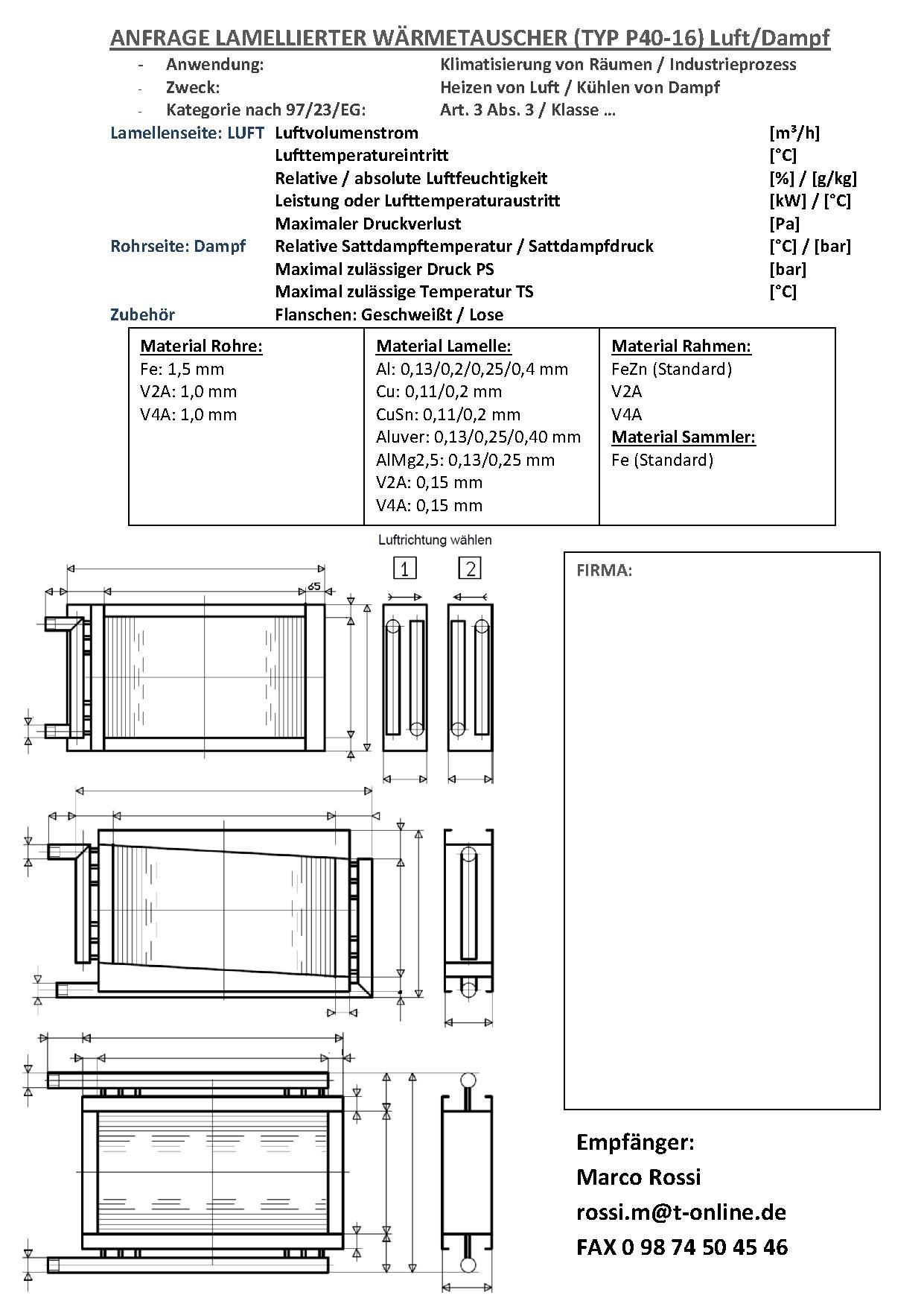 Anfrage Lamellierter Wärmetauscher (Typ P40-16)