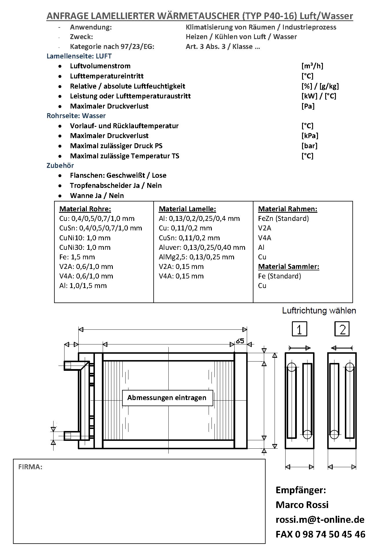 Anfrage Lamellierter Wärmetauscher (Typ P40-16) Luft/R Luft/Wasser